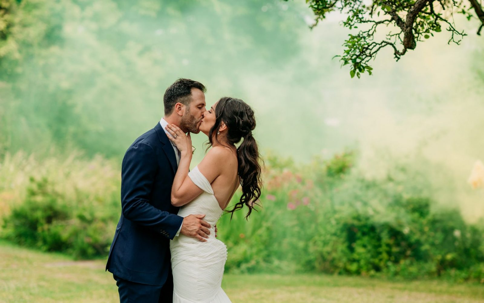 Newly-wed Couple Kiss At Lyde Court Wedding Venue, Herefordshire