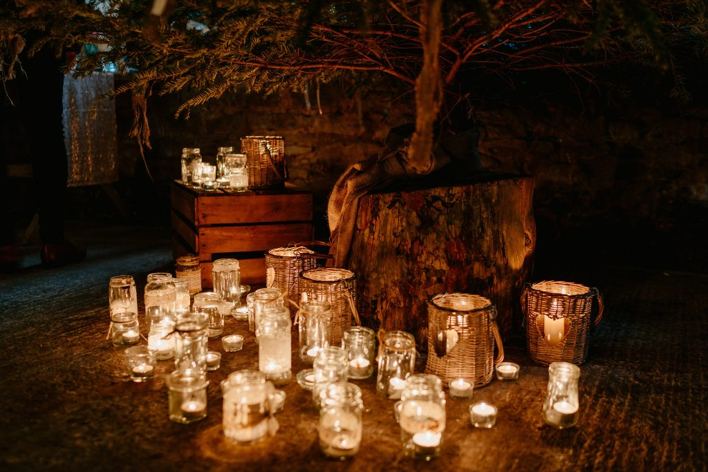 Candles and christmas tree Hereford Wedding Venue Lyde Court