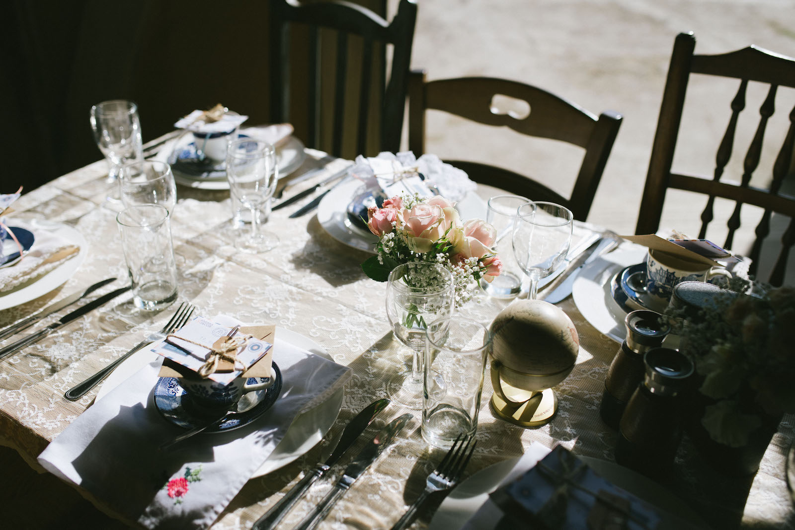 Vintage table place settings at Lyde Court Hereford