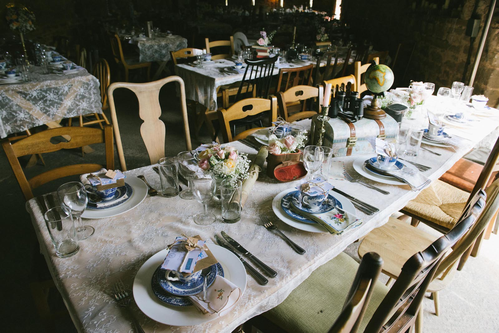 Vintage table set up at Lyde Court barn wedding venue, hereford