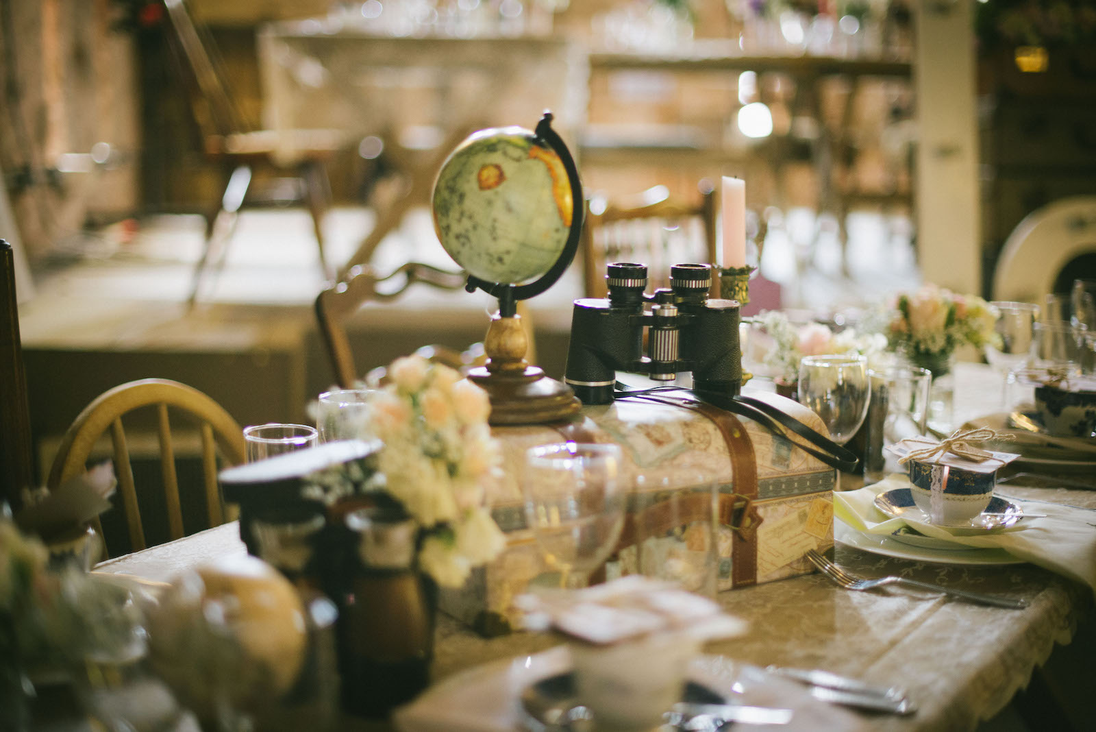 Vintage wedding decor at Hereford vintage wedding venue