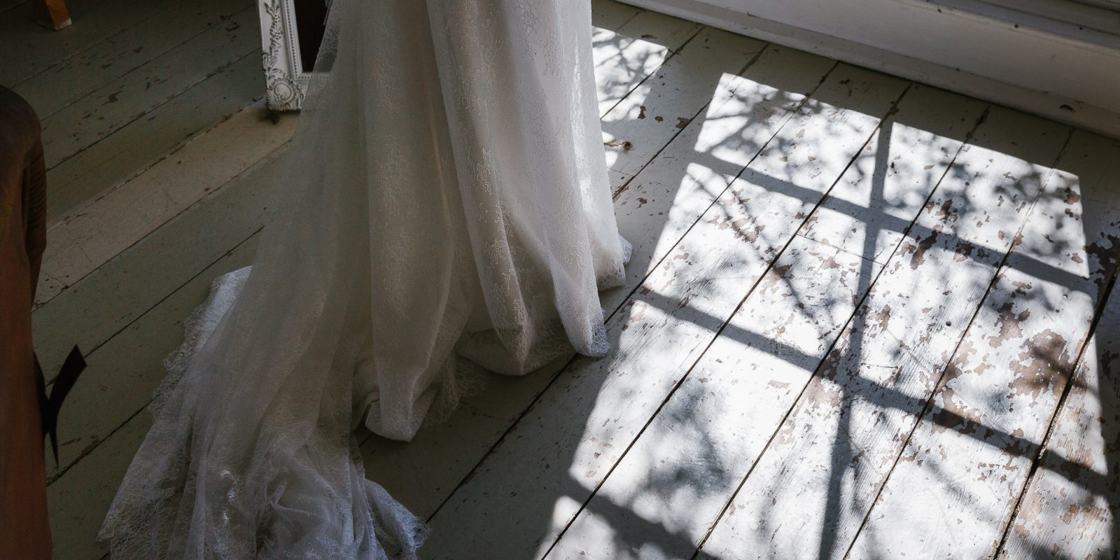Dress in The White Room at Lyde Court Wedding Venue
