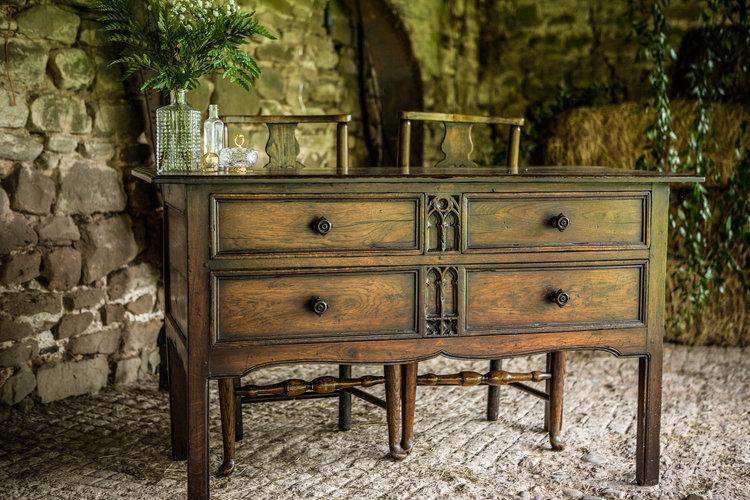 Vintage desk at Lyde Court Barn Wedding Venue, Hereford